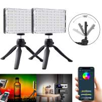 GVM RGB Camera Light Panel - 180° Rotatable Full-Color Output Video Light Kit with APP Control CRI95+ Dimmable 3200K-5600K Rechargeable Battery LED Camera Lights with Tripod, for YouTube DSLR Camera