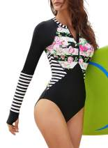 ZESICA Women's Long Sleeve Floral Printed Zip Front Rashguard One Piece Swimsuit Sun Protection Surfing Swimwear Bathing Suit