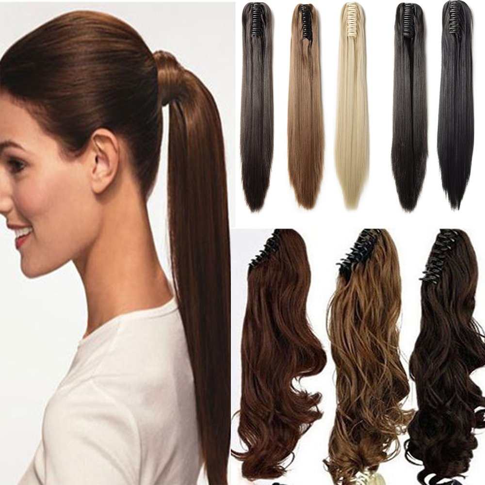 Claw Ponytail Extension Ombre Straight Jaw Ponytails Pony Tail Hairpiece Clip in Hair Extensions Real Natural as Human Synthetic Fibre for Women 145G Thick Long 26 inch light brown & ash blonde