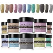 NICOLE DIARY Holographic Dipping Nail Powder Kit 10g Sparkling Colorful Acrylic Glitter Powder Dip Nail Pigment Essential Set NO UV/LED Lamp Cure Needed(12 Colors)