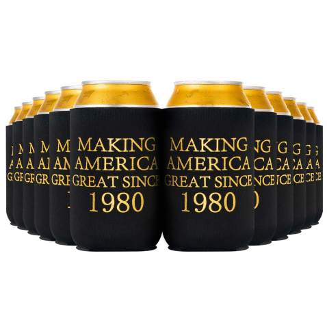 Crisky 40th Birthday Beer Sleeve, 40th Birthday Can Cooler Insulated Covers,40th Birthday Decorations Black Gold Making America Great Since 1980, Neoprene Coolers for Soda, Beer, Can Beverage, 12 Pcs