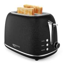 2-Slice Toasters Stainless Steel Retro Toaster with Extra Wide Slots (Black)