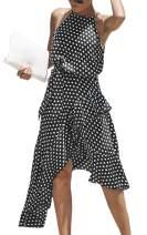 Hibluco Women's Halter Dot Ruffles Asymmetrical Dress with Belt