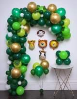 Jungle Safari Theme Party Supplies 144Pcs,Green Palm Leaves 10Pcs,Latex Balloons 122pcs,Animal foil Balloons 5Pcs,Tying Tools,Decorating Strip,Glue Dots,Flower Clips,Ribbon,Birthday Shower Christmas