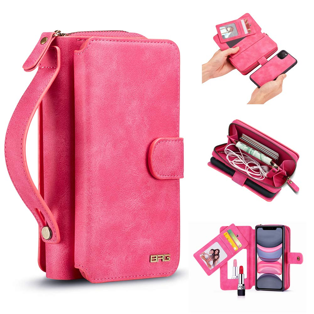 """iPhone 11 Case, [Magnetic Detachable] Wallet PU Leather Mirror Case Protective Removable Flip Folio Cover Zipper Purse Clutch Handbag with [11 Card Holder Slot] for iPhone 11 6.1"""" - Pink"""