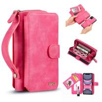 """iPhone 11 Pro Max Case, [Magnetic Detachable] Wallet PU Leather Mirror Case Removable Flip Folio Cover Zipper Purse Clutch Handbag with [11 Card Holder Slot] for iPhone 11 Pro Max 6.5"""" - Pink"""