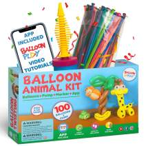 Balloon Animal Starter Kit with App  beginners balloon kit with 100pcs long Balloons for balloon animal, handheld Pump and Balloon App with 24+ video tutorials fun gift for Boys, Girls & Adults for hours of creative activity.