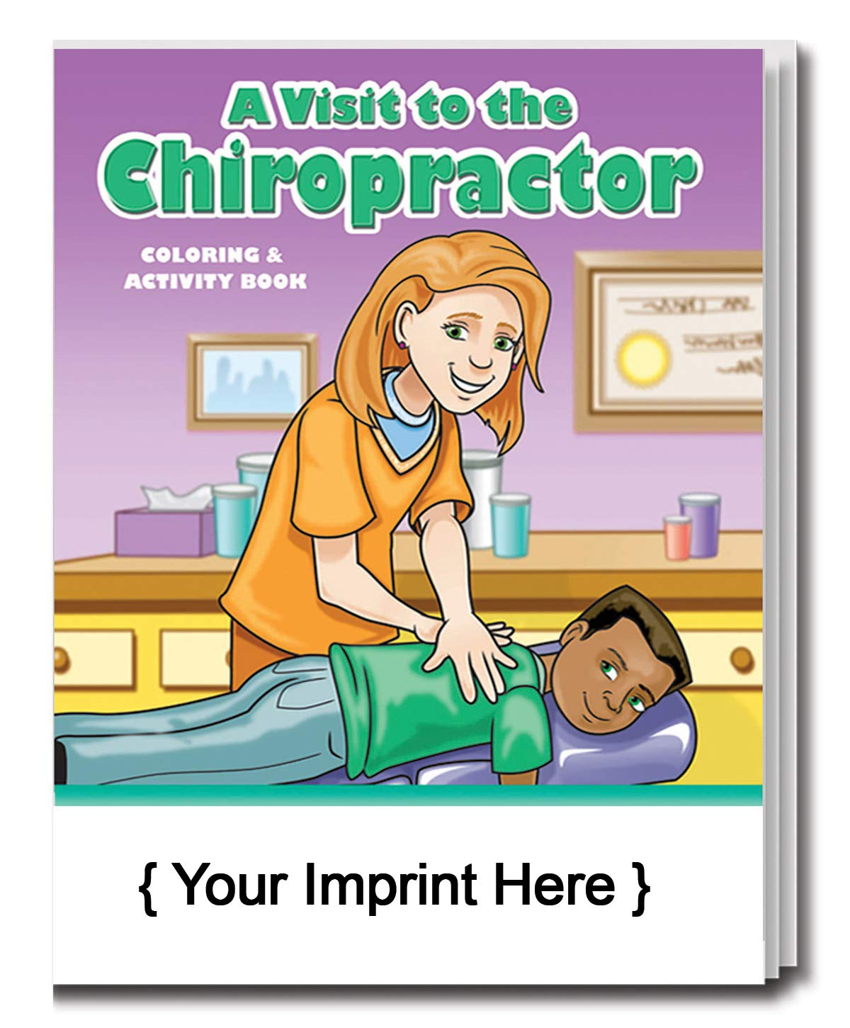 ZOCO 250 Pack / Add Your Imprint - A Visit to The Chiropractor Kid's Coloring & Activity Book in Bulk - Chiropractic Kids Toys - Chiropractic Books for Kids - Promotional Items