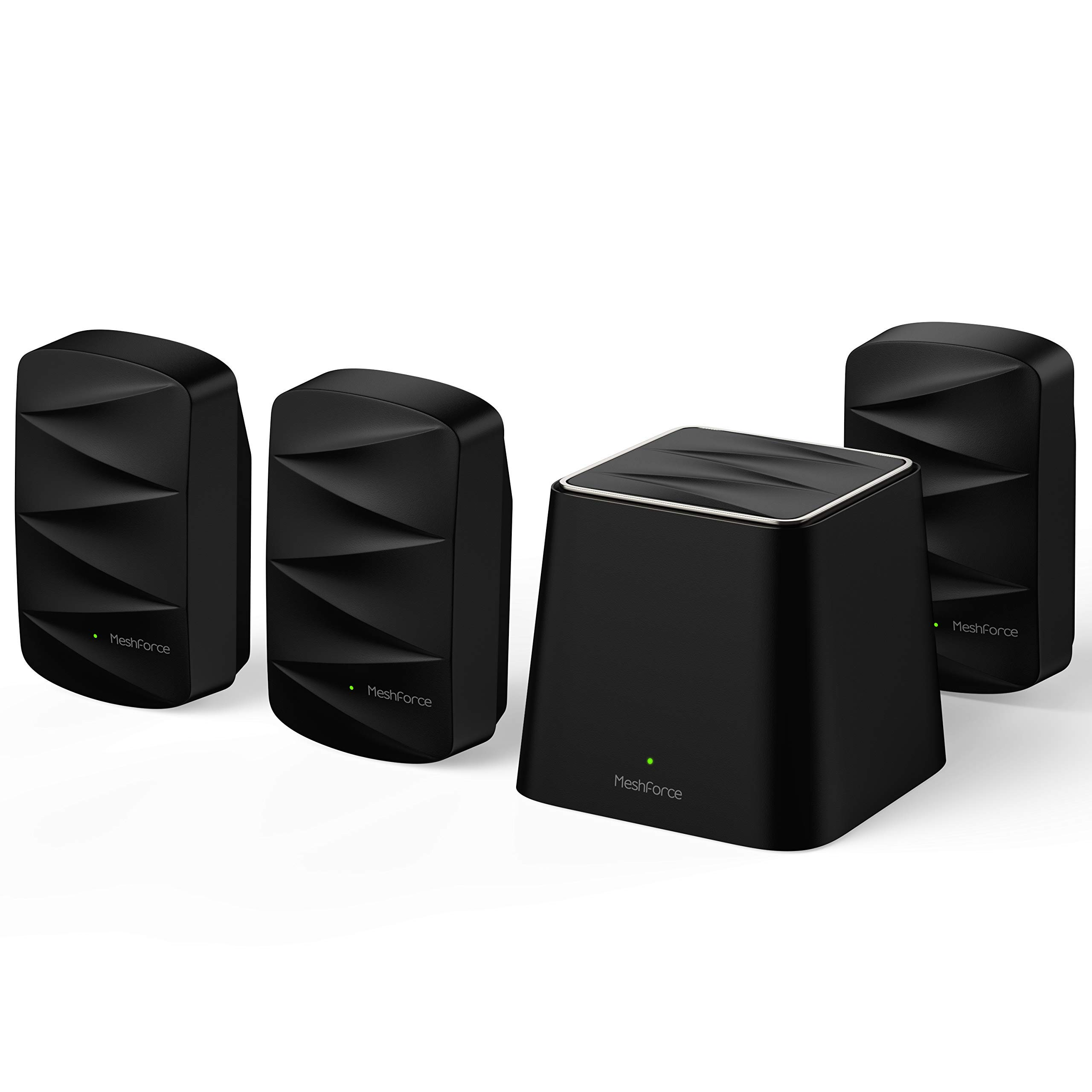 Meshforce M3 Mesh WiFi System (1 WiFi Point + 3 WiFi Dots) - Mesh WiFi Router Replacement with Flexible Wall Plug Extender - Covers Up to 7+ Rooms (Midnight Black)