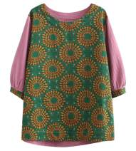 SCOFEEL Women's Cotton Linen Shirts Crew Neck Half Sleeve Patchwork Blouse Tops