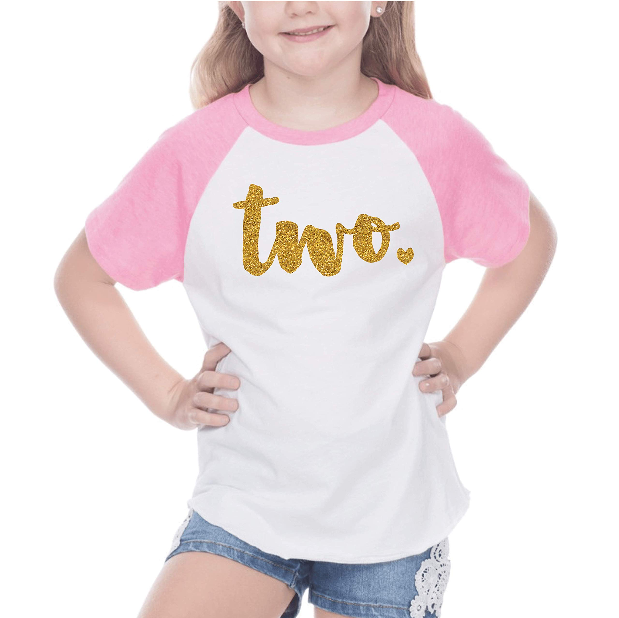Bump and Beyond Designs Second Birthday Outfit Girl Two Year Old Girl Birthday T-Shirt (18 Months Pink Raglan)