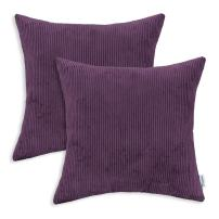 CaliTime Pack of 2 Cozy Throw Pillow Covers Cases for Couch Bed Sofa Ultra Soft Corduroy Striped Both Sides 16 X 16 Inches Deep Purple