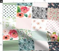 Spoonflower Fabric - Floral, Whole Cloth, Cheater Quilt Top, Boho, Baby Girl, Green Pink, Printed on Petal Signature Cotton Fabric by The Yard - Sewing Quilting Apparel Crafts Decor