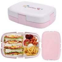 Bento Box, G.a HOMEFAVOR Bento Lunch Box for Kids and Adults, Lunch Containers with 3 Compartments, Healthy Made by Wheat Fiber (Pink)
