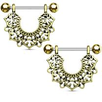 MoBody One Pair Surgical Steel Filigree Flower Dangle Nipple Ring Shield Body Piercing Jewelry 14G (1.6mm)