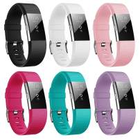 Hanlesi Band Compatible with Fitbit Charge 2, TPU Soft Silicone Adjustable Replacement Sport Strap Large and Small Band for Fitbit Charge 2 Band Smartwatch Heart Rate Fitness