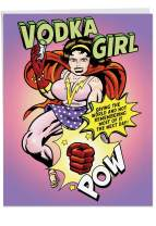Vodka Girl Birthday Card' Big Greeting Card with Envelope 8.5 x 11 Inch - Pop Art Comics Design, Alcoholic Super Hero, Vodka Drinking Powers, Personalized Happy Bday Greetings and Wishes J7471