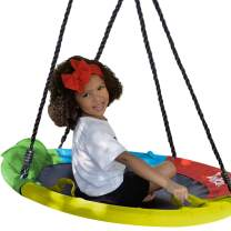 """Hazli 40"""" Saucer Swing for Kids Outdoor with Straps- Round Outdoor Swings for Swing Set - Large Tree Swings for Children with Hanging Kit - Heavy Duty Children Disk Swing for Outside"""