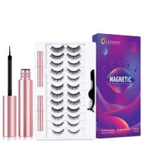 Lorchar Magnetic Lashes, 12 Pairs Magnetic Eyelashes with Eyeliner Kit - Magnetic Eyelashes Natural Look & 2 Tubes of Magnetic Eyeliner, Updated Reusable False Eyelashes with Applicator