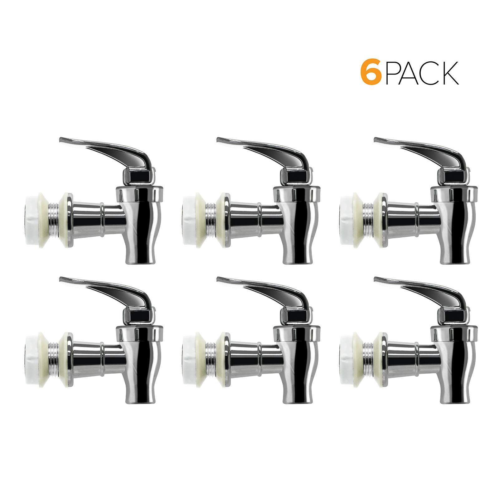 Brio Water Dispenser Replacement Valve 6-PACK, Cooler Faucet Spigot for Beverage Dispensers, Crocks, Coolers, and More BPA-Free Food Safe Material (Chrome)