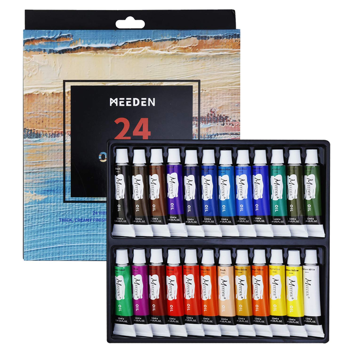 MEEDEN Oil Paint Set of 24 Tubes x 12 ml, Rich Pigments, Vibrant, Non-Toxic Paints for Kids, Students, Beginners, Hobby Painters and More