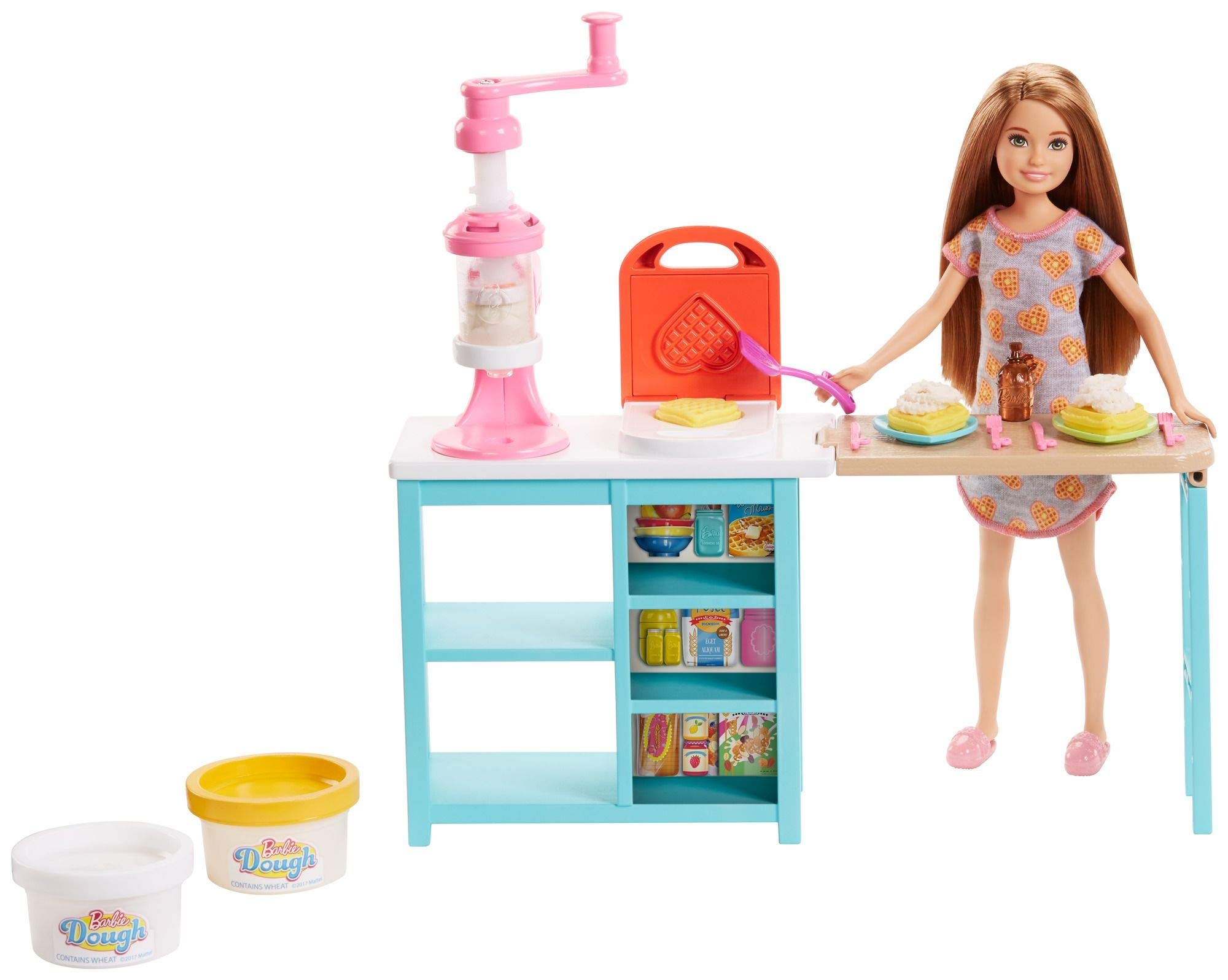 Barbie Breakfast Playset with Stacie Doll, Waffle-Maker, Whip Cream Machine & 2 Dough Colors