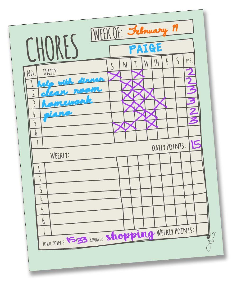 "Jennakate - Mint Child Behavior Reward Chore Chart - Daily Household Chore Checklist - Job Chart - Dry Erase - Family Command Center - 11""x 14"""