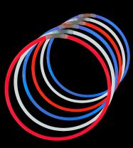 Lumistick 22 Inch Glow Stick Necklaces | Safe & Non-Toxic Light Up Premium Super Bright Glowstick | Perfect for 4th of July Independence Celebration - Tri-Color Red, White & Blue (150 Glowsticks)