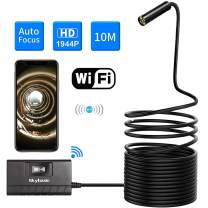 Wireless Endoscope, SKYBASIC Auto Focus 5.0 Megapixels 1944P FHD WiFi Borescope, Semi-Rigid IP68 Waterproof Inspection Camera, Snake Camera for Android and iOS Smartphone,Tablet(33FT)