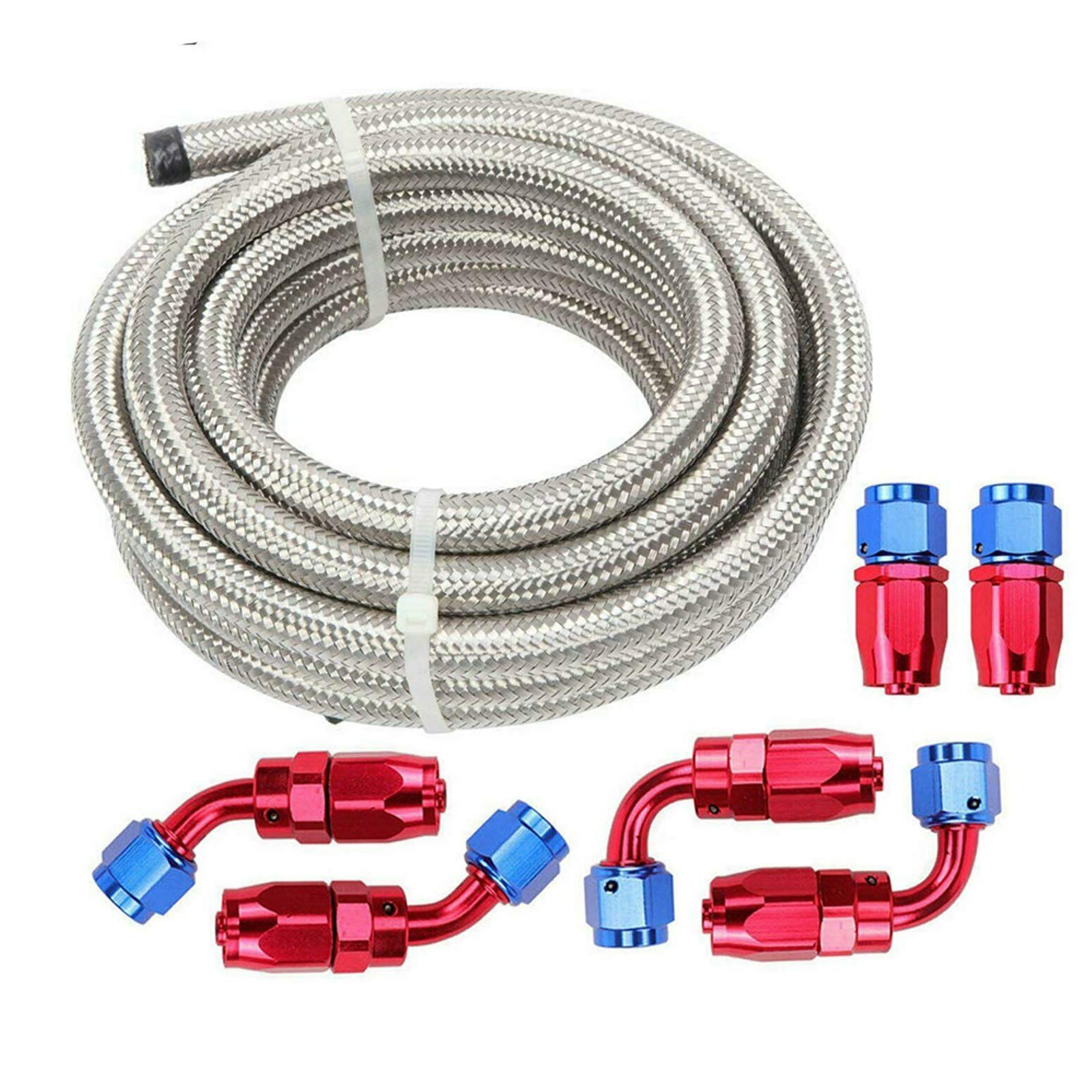 8AN Fuel Line Hose Kit,Stainless Steel Braided PTFE E85 Tube 10Ft with 8AN Hose fittings Red&Blue (6 PCS)