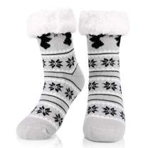 Womens Winter Fleece Lining Knit Snowflake Socks Buluri Non Slip Warm Fuzzy Cozy Slipper Socks Christmas Gifts