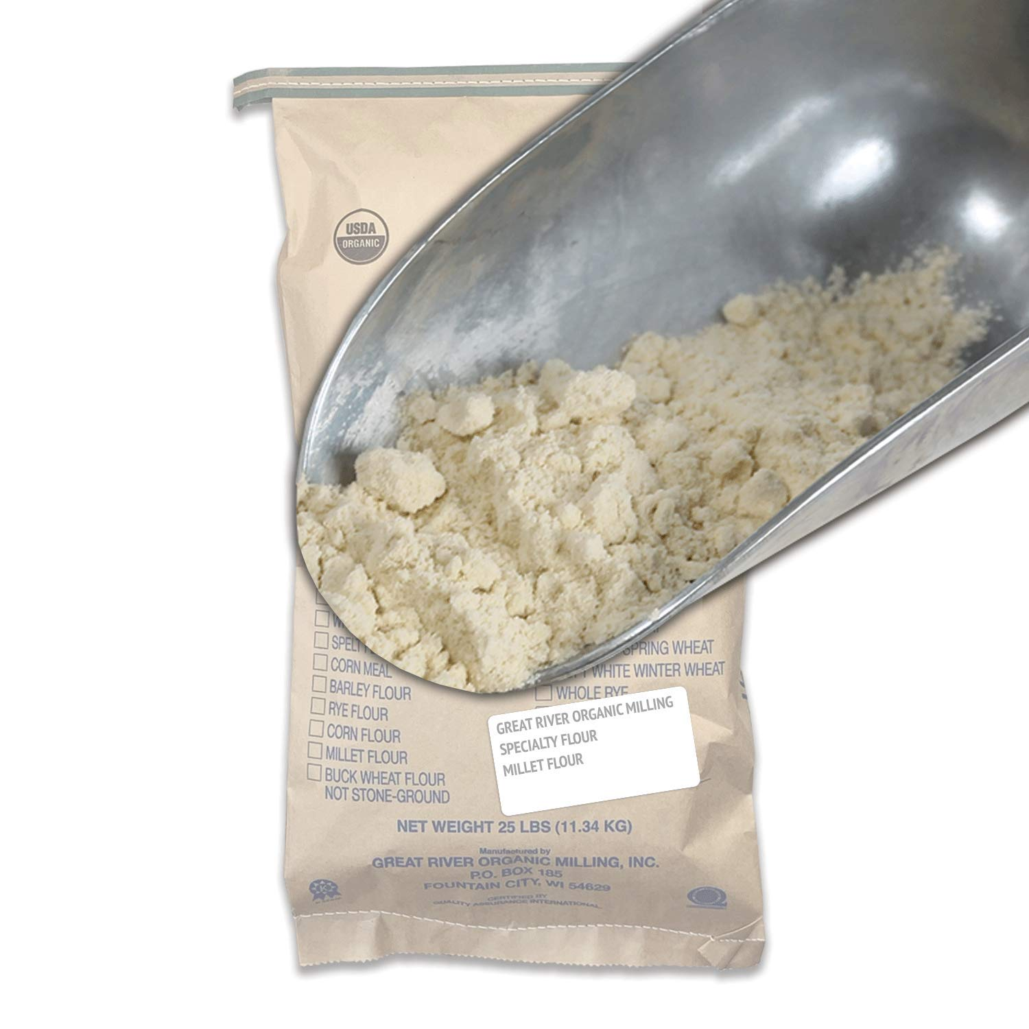 Great River Organic Milling, Specialty Flour, Millet Flour, Stone Ground, Organic, 25-Pounds (Pack of 1)