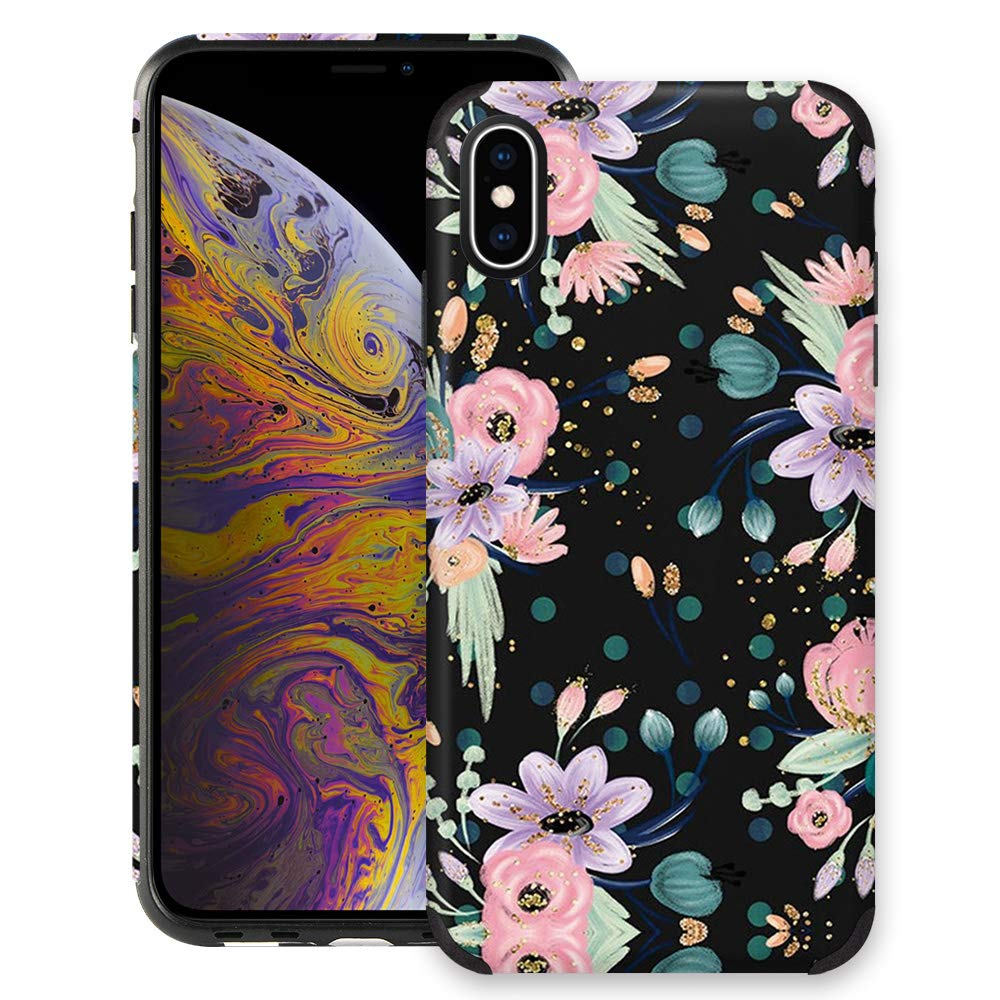CUSTYPE Case for iPhone X, iPhone Xs Case Floral for Girls & Women, Floral Series Watercolor Camellia Flower Print Pattern Design, Leather with TPU Bumper Slim Protective Cover for iPhone Xs/X 5.8''
