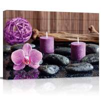 """Canvas Wall Art - Purple Orchid and Calming Candles with Zen Stones - Modern Wall Decor Gallery Canvas Wraps Giclee Print Stretched and Framed Ready to Hang - 12"""" x 16"""""""