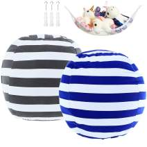 """2 Pack Stuffed Animal Storage Bean Bag Cover Sack 24"""" for Kids Room DIY Bean Bag Chair Covers Only White Grey Blue Strips"""