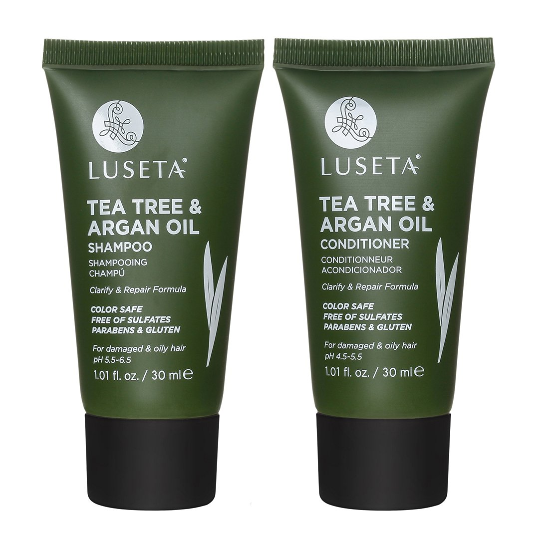 Luseta Tea Tree & Argan Oil Detangling Shampoo & Conditioner Set, Travel kit, 2x1.01oz