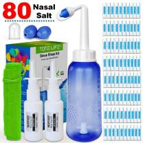 TONELIFE Nasal Rinse Kit+80 Nasal Salt+2 Nasal Pump Sprayer - 300ml Nose Wash-Nasal Irrigation System-Neti Pot with Buffered Salt Packets,Nose Cleaner with Saline Nasal Care Refills for Sinus Rinse