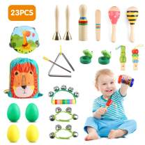 BeebeeRun 23PCS Kids Wooden Musical Percussion Instruments Set,12 Types Multifunctional Preschool Education Learning Musical Toys for Toddlers Boys Girls