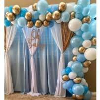 Pateeha Latex Blue Balloons 100pcs 12 Inch White and Gold Balloons Round Balloons Arch Kit for Baby Shower Birthday Wedding Engagement Anniversary Festival Party Decorations