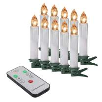 Micandle 10Pack Flickering Flameless LED Taper Candle,PP,No fire hazards or burning risks,Battery Operated Christmas Tree Taper Lights with 10 removable Clips,for Home Decor in Warm White,0.67''Dx4''H