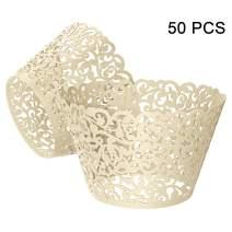 Gospire 50 pcs Pearl Lace Filigree Wedding Cupcake Wrapper Baking Cake Cups Wraps Party Decoration Laser Cut Titanium White