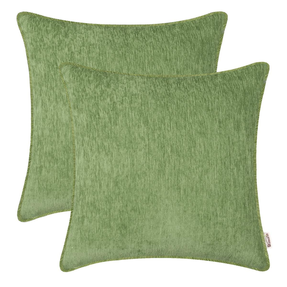 BRAWARM Pack of 2 Cozy Throw Pillow Covers Cases for Sofa Couch Home Decoration Solid Dyed Striped Soft Chenille with Piping 24 X 24 Inches Forest Green