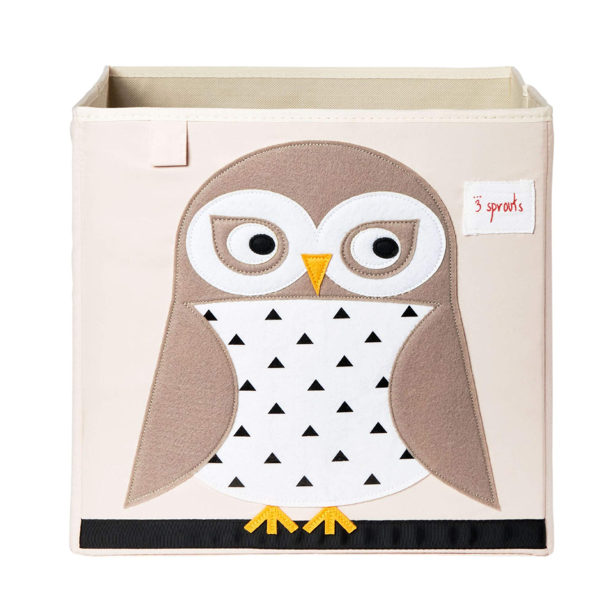 3 Sprouts Cube Storage Box - Organizer Container for Kids & Toddlers, Owl