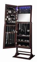 Abington Lane Standing Jewelry Armoire - Lockable Cabinet Organizer Jewelry Storage with Full Length Mirror and LED Lights - (Espresso Finish)