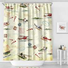 MACOFE Shower Curtain Fabric Art Print Polyester Fabric,Waterproof, Machine Washable,Hooks Included,Bathroom Decoration Original Design Hand Drawing,71x71in (Yellow Plane)