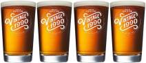 1990 30th Birthday Gifts for Men and Women Beer Glass - 16 oz (SET OF 4) Funny Vintage 30 Year Old Pint Glasses
