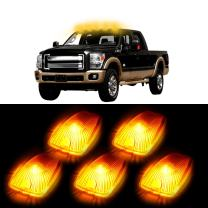 cciyu 5 Pack Amber Top Cab Roof Running Light Marker Lens + White 6-5730SMD Led Bulbs w/Bases Replacement fit for 1988-2000 Chevrolet C2500 C3500 K1500 K2500 C1500 K3500