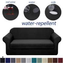 Granbest Stretch Sofa Slipcovers 3 Cushion Couch Covers Water-Repellent Pet Furniture Covers Dog Couch Protectors (Black, XLarge-2 Pieces)