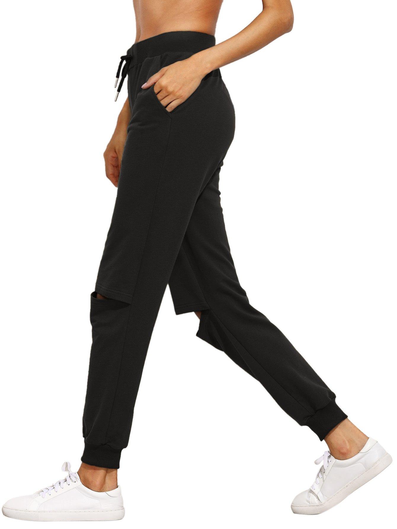 SweatyRocks Womens Ripped Pants Drawstring Yoga Workout Sweatpants Heather