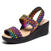 EnllerviiD Women Open Toe Woven Slingback Sandals Summer Mary Jane Platform Wedges Shoes